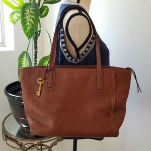Fossil Leather Tote, Rachael, Tan